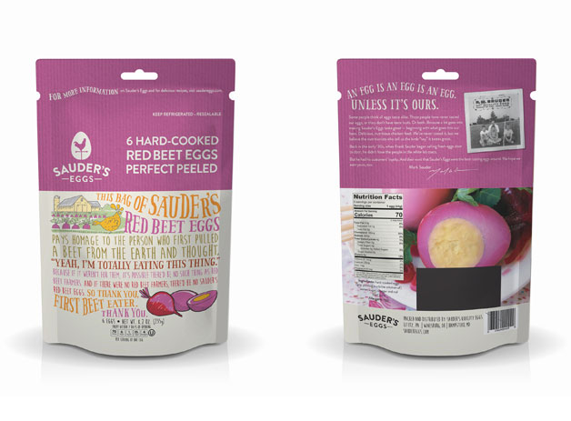 Red beet eggs in a bag from Sauder's Eggs