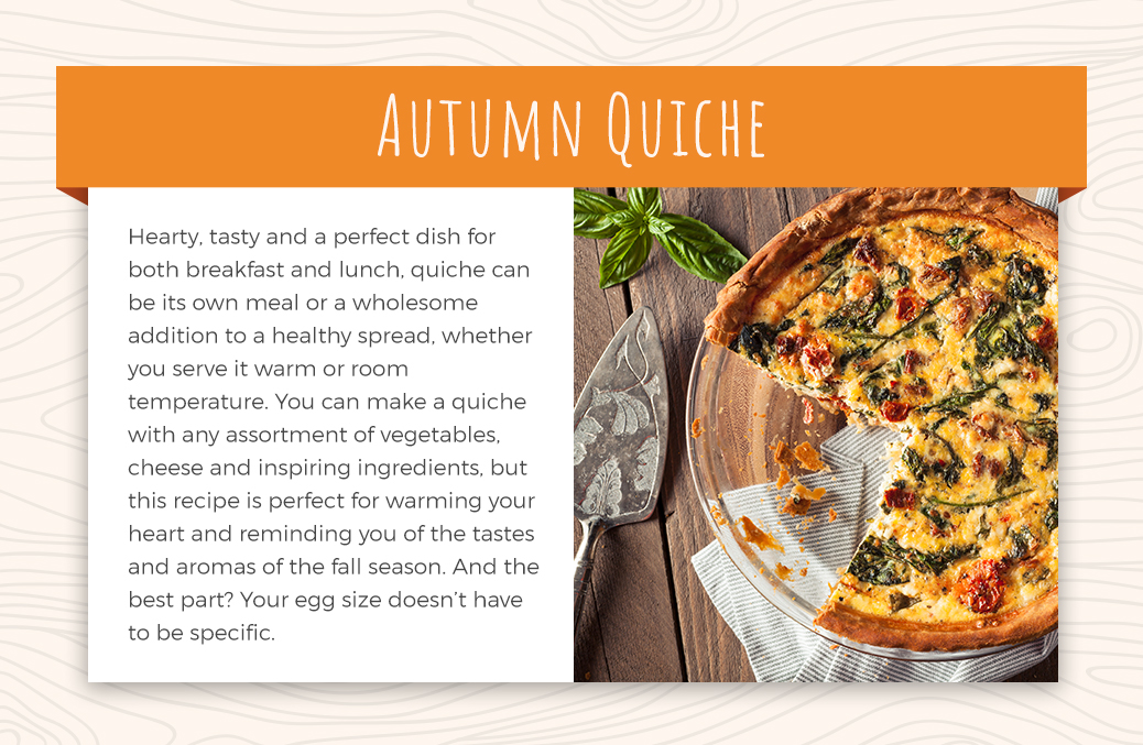 Autumn quiche with tomato and basil