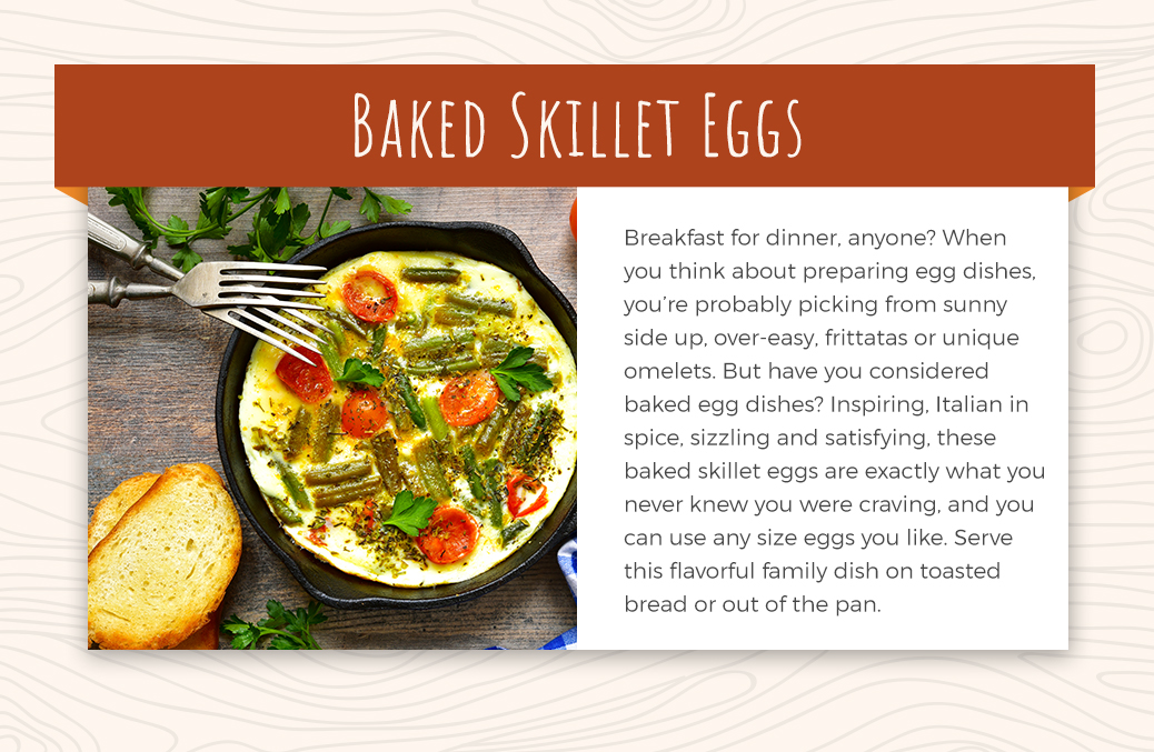 Baked skillet eggs with asparagus and tomato