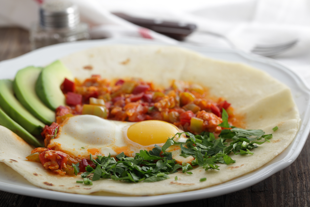 Huevos Rancheros On Tortilla - Mexican Breakfast Dish