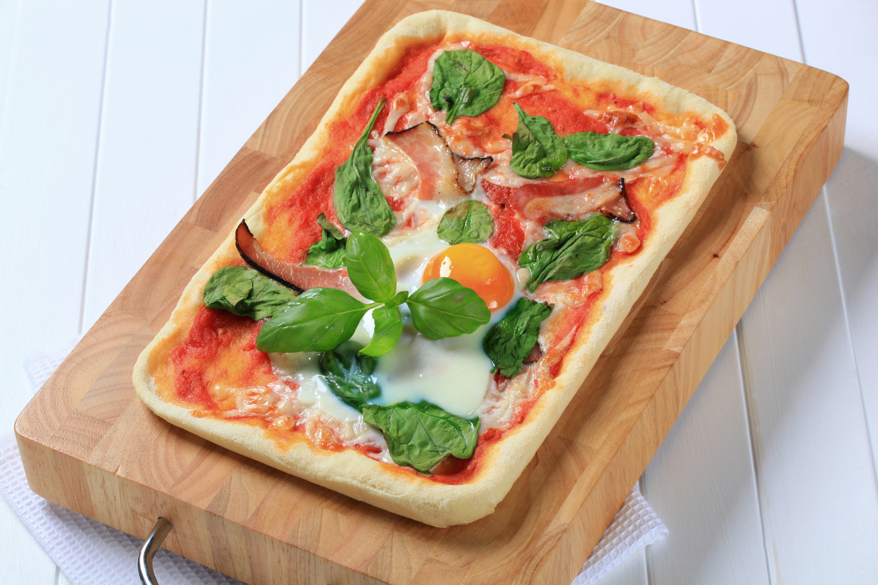 Fried Egg Flatbread With Homemade Red Sauce Recipe