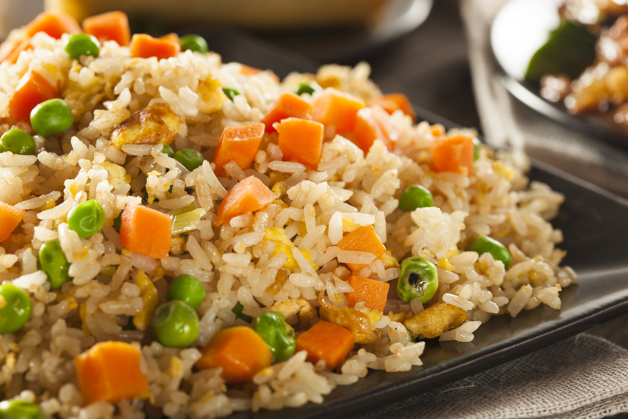 Homemade Fried Rice with Carrots and Peas