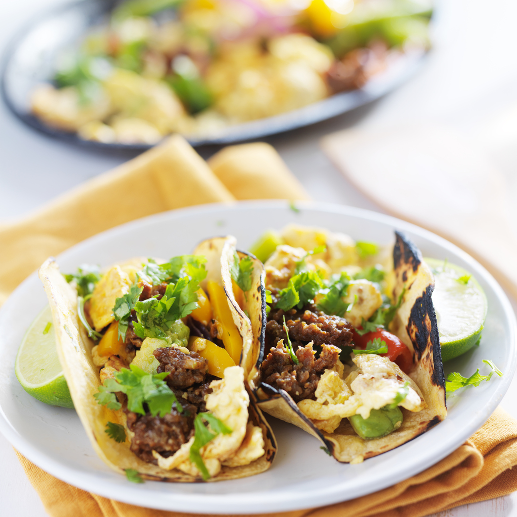 Chorizo Scrambled Egg Tacos with Lime and Cilantro