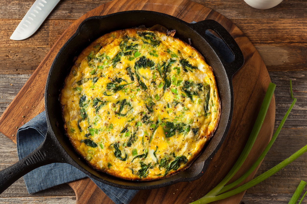 Homemade Spinach and Feta Fritatta Served in a Skillet