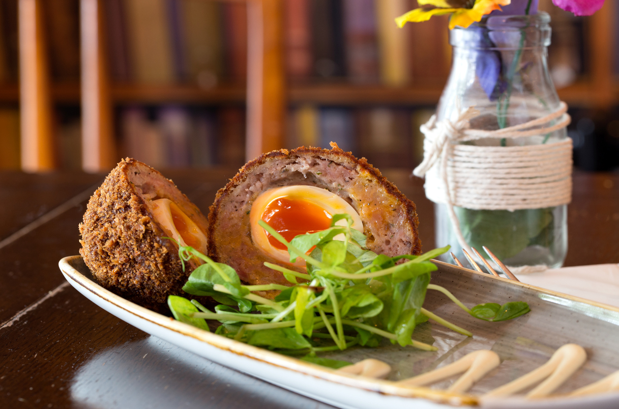 Scotch Eggs with Sausage and A Side of Greens