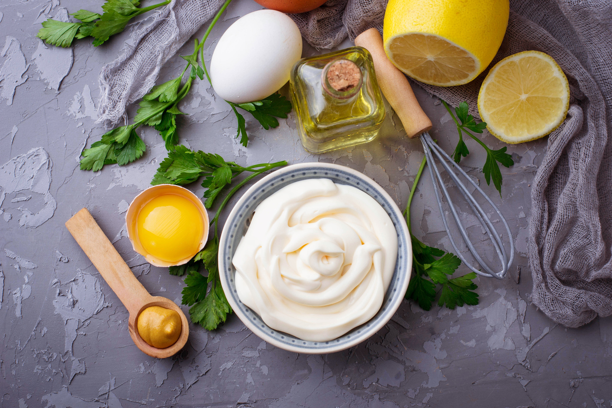 Mayonnaise Sauce Made with Olive Oil, Eggs, Mustard, and Lemon