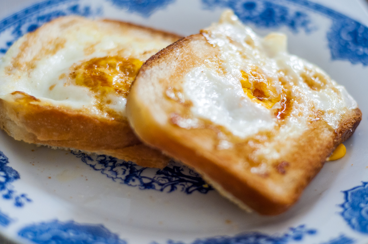 Golden French Toast with Butter and Eggs