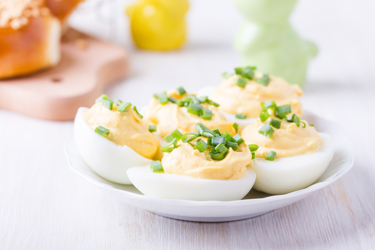 Creamy Deviled Eggs with Green Onions for Easter