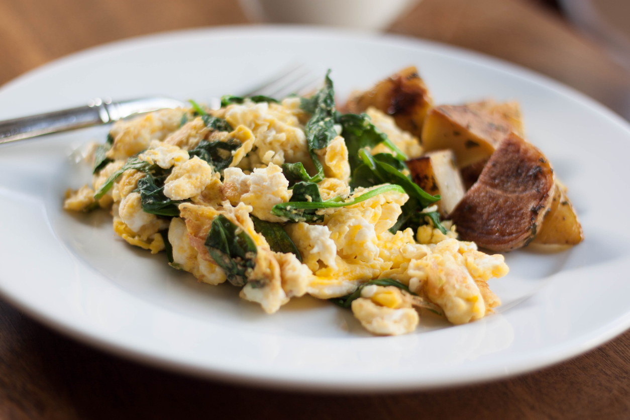 Scrambled Eggs with Baby Organic Spinach and Roasted Potatoes