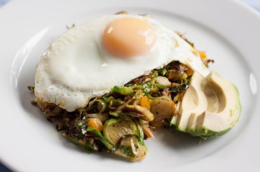 Fried Egg over Brussels Sprout Hash with Avocado