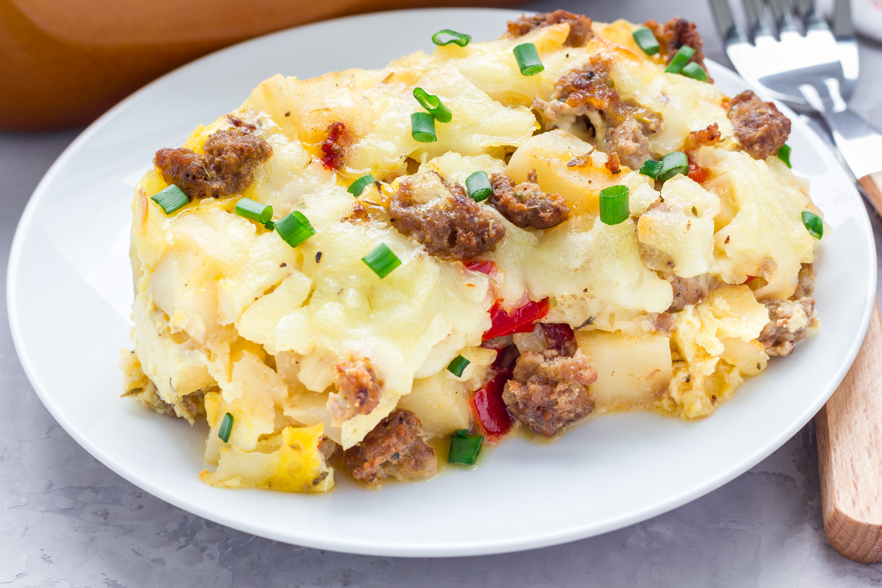 Egg Casserole Made with Potatoes, Sausage, and Peppers