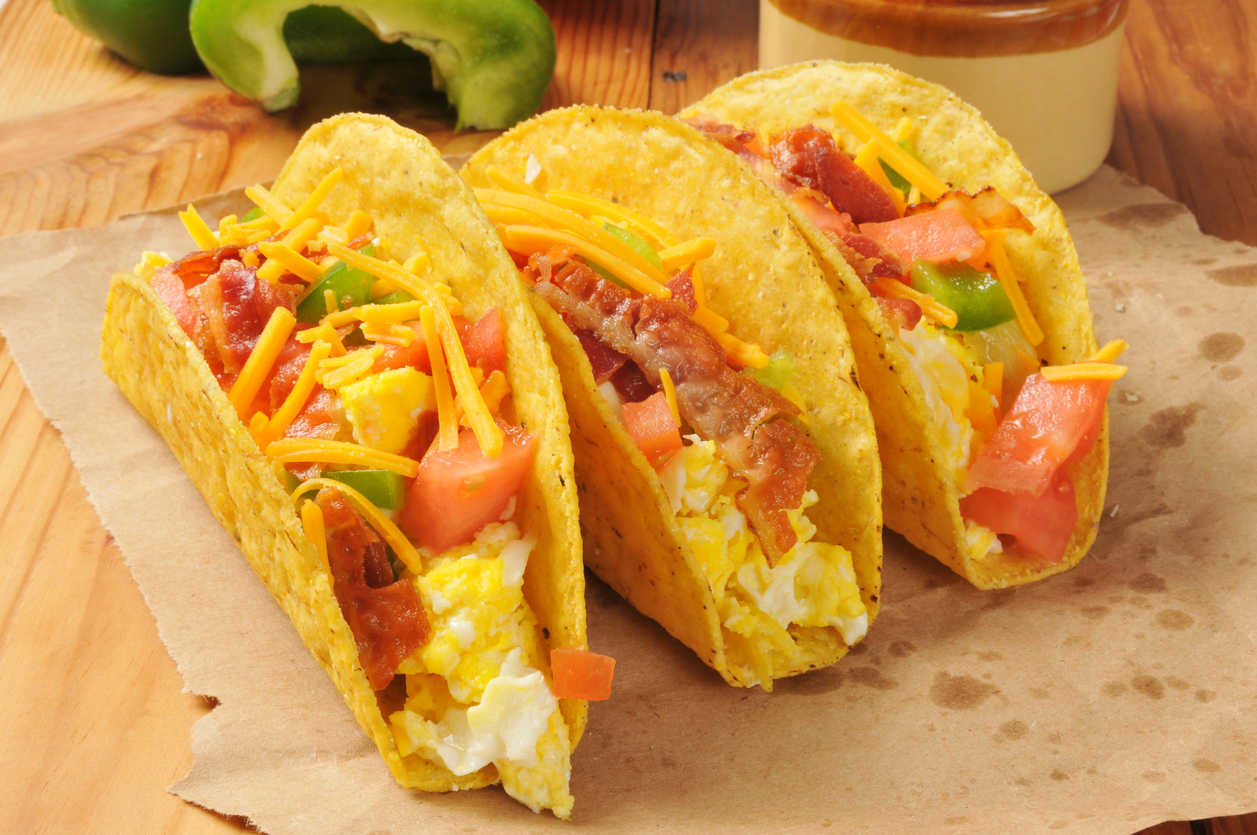 Breakfast Tacos with Bacon, Egg, Cheese, and Tomato