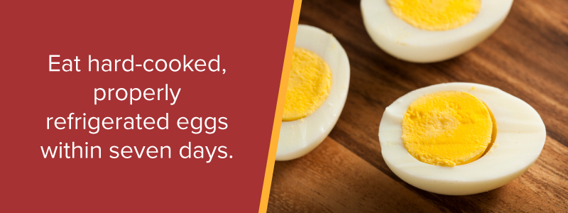 Eat hard-cooked, properly refrigerated eggs within seven days