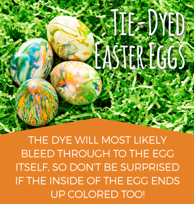 Tie-dyed Easter eggs: the dye will most likely bleed through the egg itself, so don't be surprised if the inside of the egg ends up colored too!