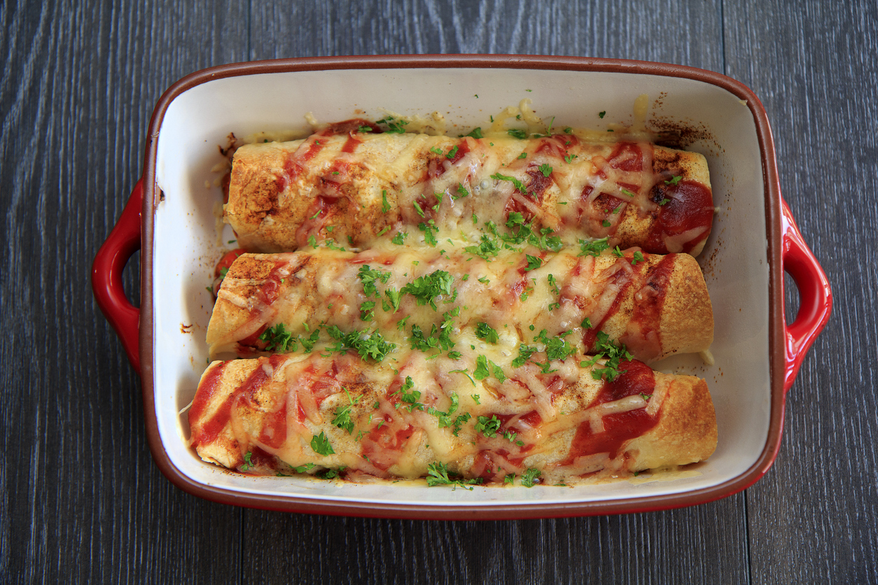 Cheesy Bacon and Egg Enchiladas
