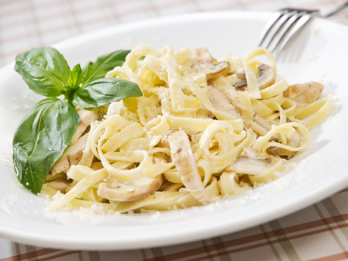 Chicken Fettuccine Alfredo with Parmesan and Parsley