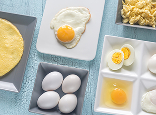 eggs cooked in a variety of ways