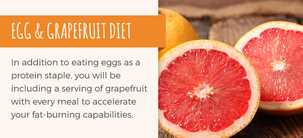 In addition to eating eggs as a protein staple, you will be eating a serving of grapefruit with every meal to accelerate fat-burning capabilities