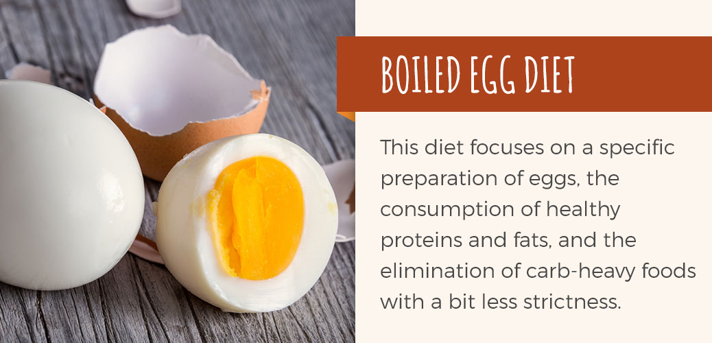 The boiled egg diet focuses on a specific preparation of eggs, the consumption of healthy protein and fats, and the elimination of carb-heavy foods with a bit less strictness