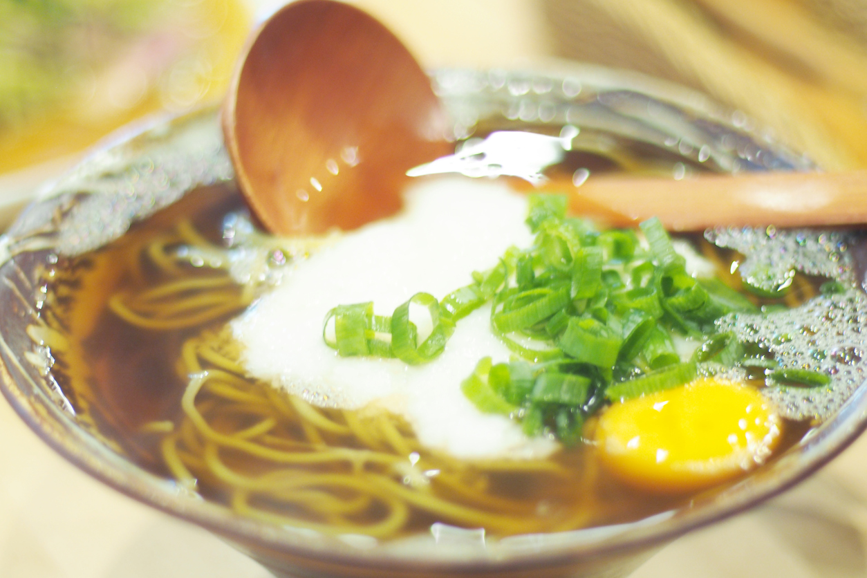 soba noodle bowls topped with eggs
