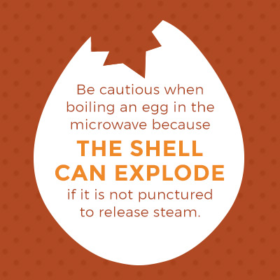 be caution when boiling an egg in the microwave because the shell can explode if not punctured to release steam
