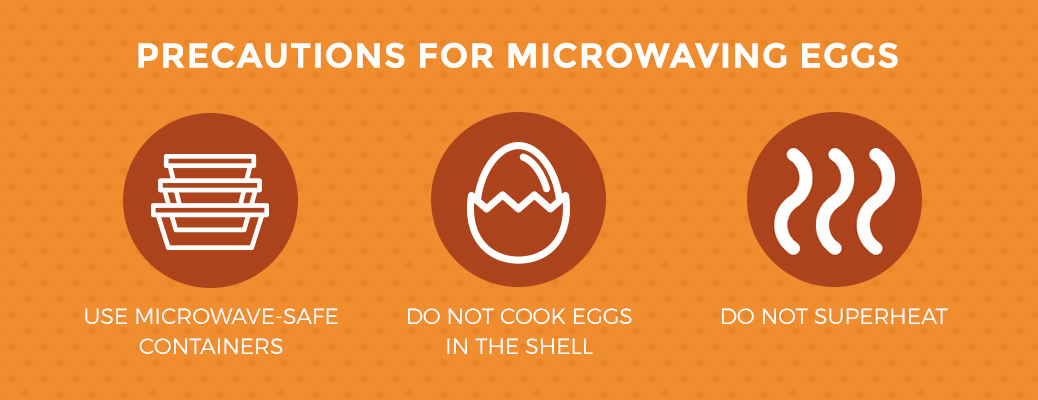 When microwaving eggs, use microwave-safe containers, do not cook eggs in the shell, and do not superheat