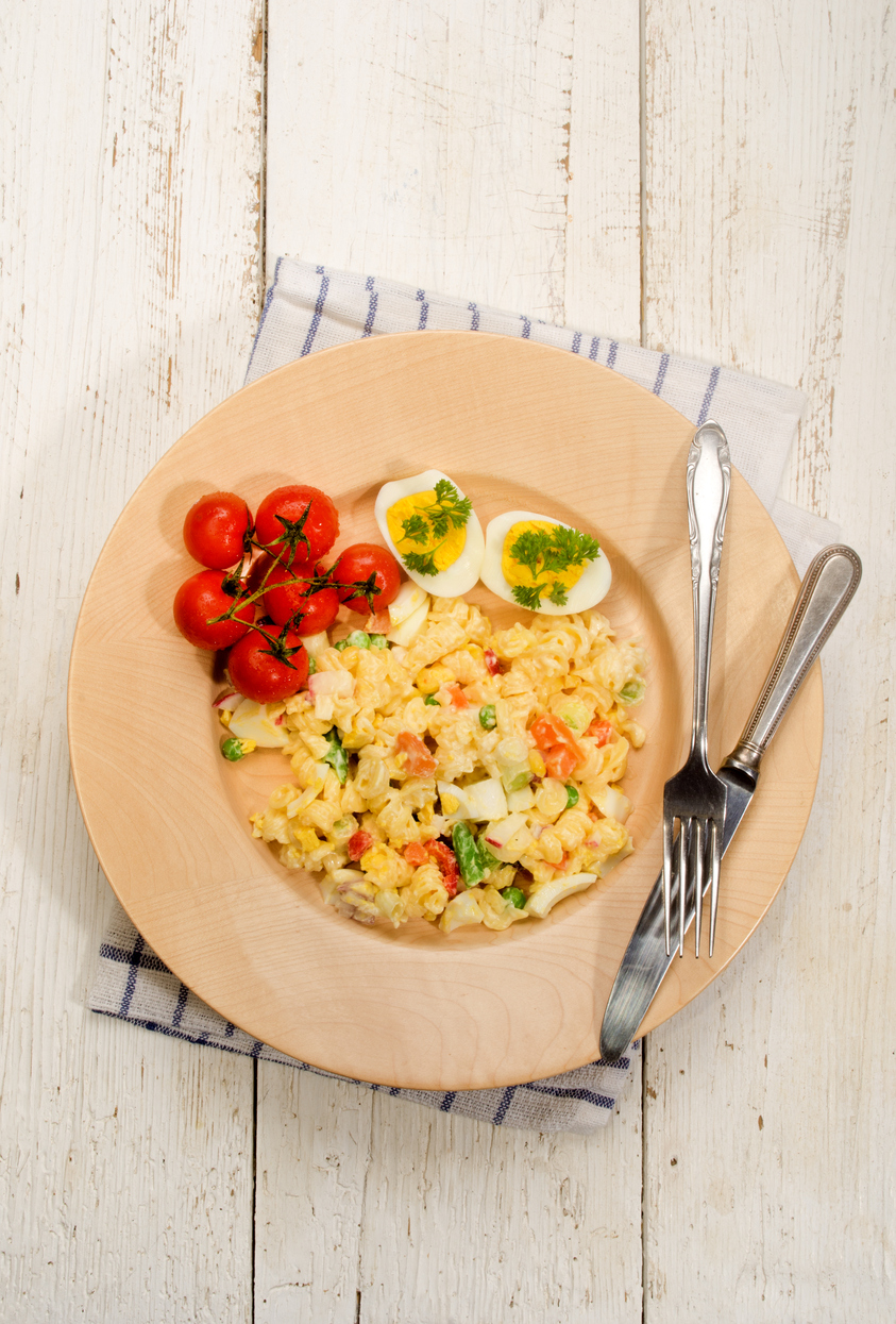 a plate of vegetarian pasta salad with eggs