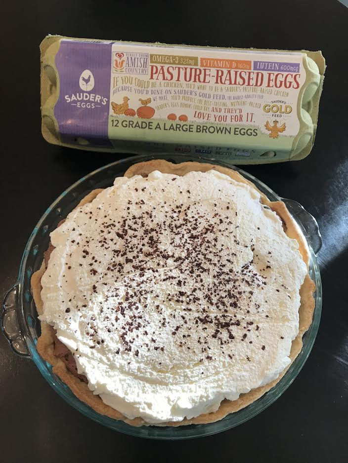 freshly-prepared french silk pie next to a carton of Sauder's Eggs Pasture-Raised Eggs