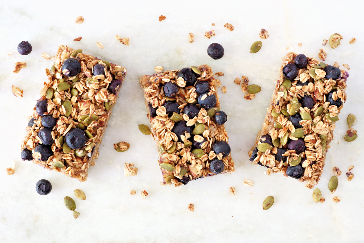 three blueberry crumble oatmeal bars