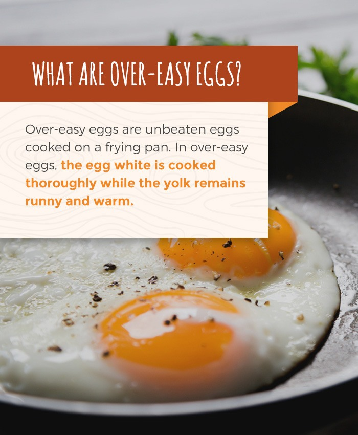 overeasy eggs are unbeaten and they are cooked over a frying pan