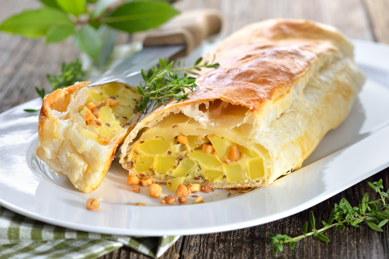 potato, bacon and egg strudel