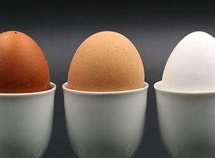 different colored eggs sitting in egg cups