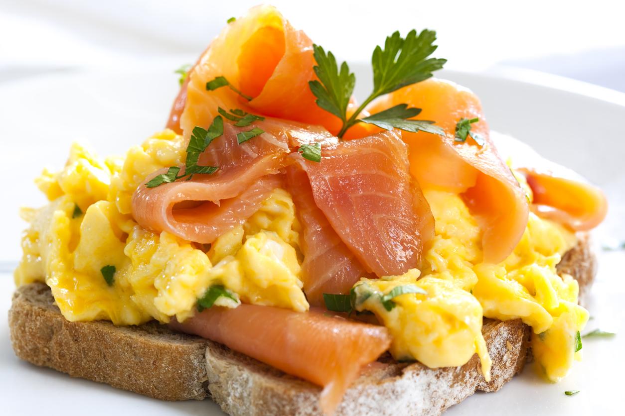 smoked salmon and egg scramble on toast
