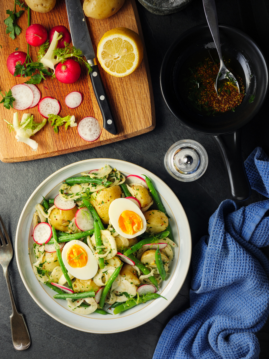 healthy summer salad with eggs